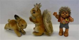 Three small Steiff animals including Possy squirrel