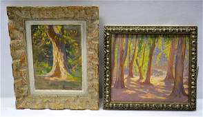 Woodstock NY school - Two impressionist O/B landscapes,