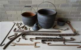 Grouping of early mostly hand forged iron hearth items