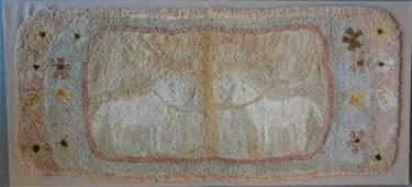Pictorial folk art hooked rug depicting 2 white horses