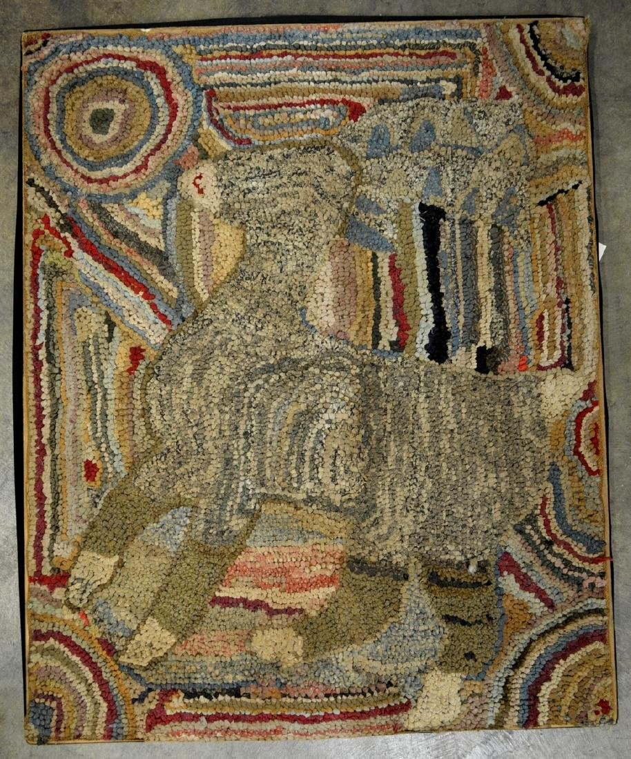 Folk art pictorial hooked rug depicting a portrait of a