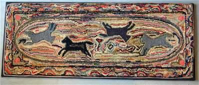 Folk art hooked rug depicting horses running around