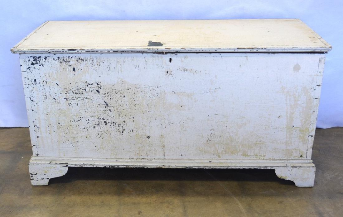 Early 6 board blanket box on bracket base in an old