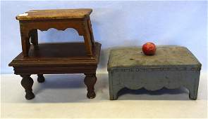 Three early cricket stools in various sizes and