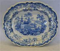 Blue and white Staffordshire transferware platter in