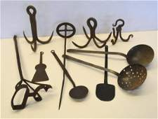 Grouping of 10 pieces of early mostly hand forged iron