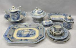 Grouping of 15 pieces of blue and white Staffordshire