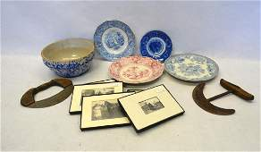 Grouping of country items including 4 transferware blue