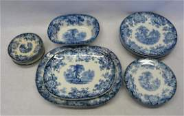 Grouping of 24 blue and white transferware plates