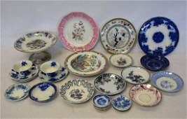 Grouping of early blue/white transferware china