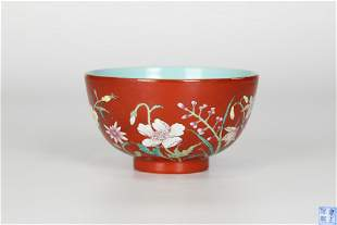 Yongzheng, coral red ground multicolored flower bowl