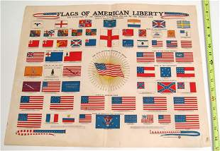 Antique 1940 Flags of American Liberty Print