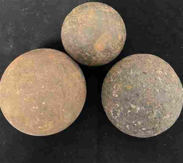 Lot of 3 Civil War Cannon Balls 2.5 3.5 4.5 LB
