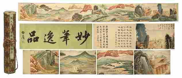 A CHINESE HAND SCROLL PAINTING OF MOUNTAIN VIEW WITH