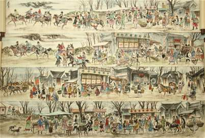 CHINESE HAND SCROLL PAINTING OF FIGURES BY HUANG ZHOU