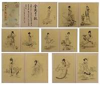THIRTEEN PAGES CHINESE PAINTING ALBUM OF TWELVE BEAUTYS
