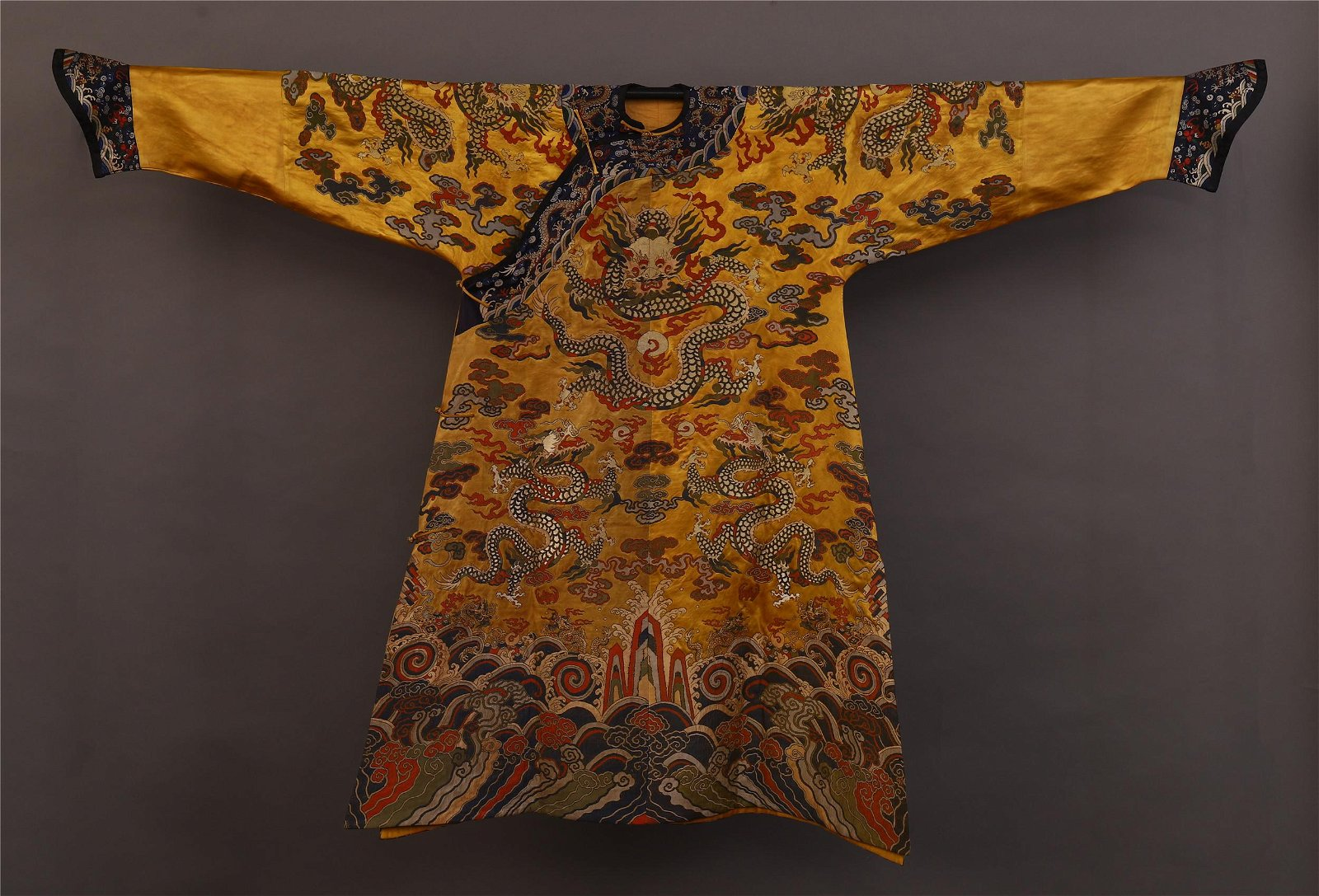 CHINESE YELLOW EMBROIDERY DRAGON TMPERIAL ROBE