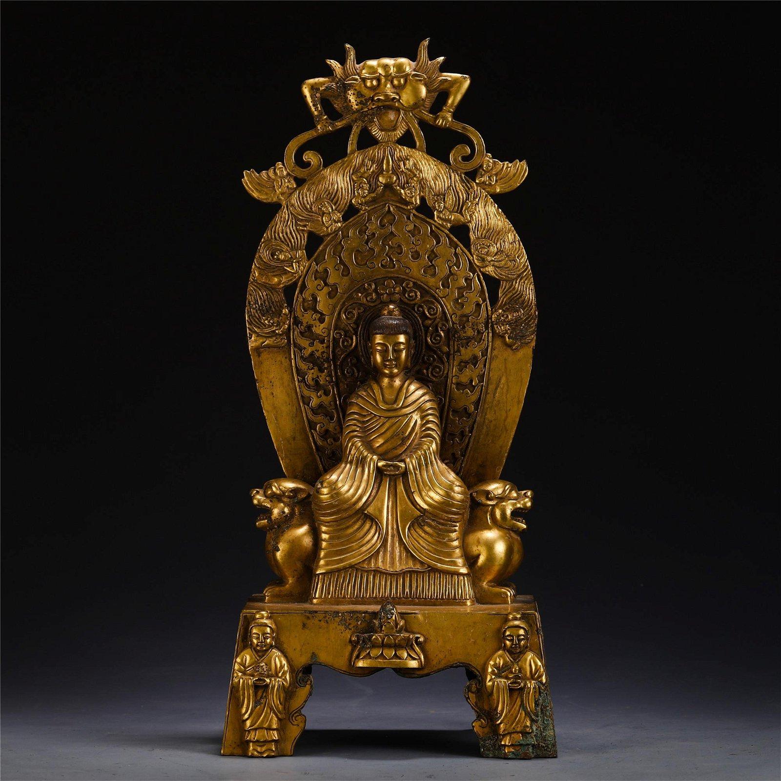 A LARGE CHINESE GILT BRONZE BUDDHA STATUE