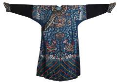 CHINESE BLUE GROUND SILK GOLD FILIGREE EMBROIDERY
