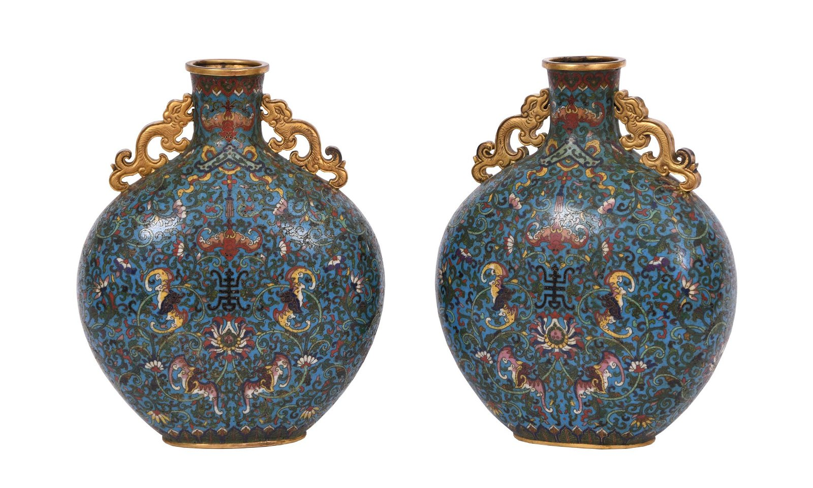 A PAIR OF CHINESE CLOISONNE FLOWER MOON FLASK VASE