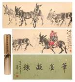 A CHINESE LONG SCROLL OF PAINTING DONKEYS BY HUANG ZHOU