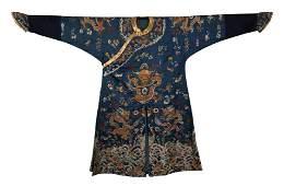 A CHINESE BLUE BOTTOM GOLD COLLAR DRAGON ROBE