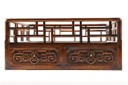 A CHINESE HARDWOOD TRAY OF SCHOLAR'S OBJECTS