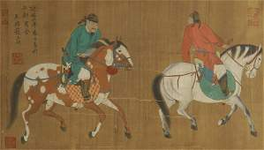 A CHINESE SILK SCROLL PAINTING OF WARRIORS ON HORSE BY