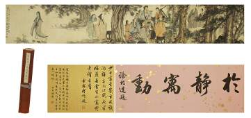 CHINESE HANDSCROLL PAINTING OF SCHOLARS GATHERING BY FU