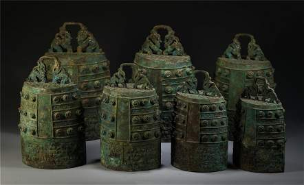 CHINESE BRONZE MUSICAL INSTRUMENT, CHIME BELLS