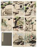CHINESE TWELVE PAGES PAINTING ALBUM OF WATER TWON SCENE