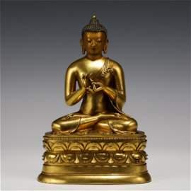 CHINESE GILT BRONZE BUDDHA STATUE OF SEATED SAKYAMUNI
