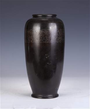 A CHINESE BRONZE VASE WITH SILVER WIRE INLAIDED