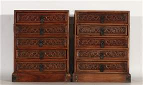 A PAIR OF CHINESE CARVED HARDWOOD BOOK CASES