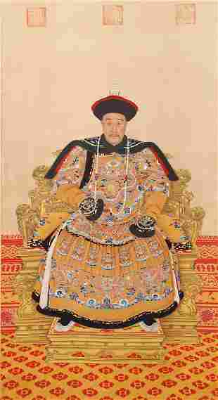 A CHINESE PAINTING PORTRAIT OF THE EMPEROR