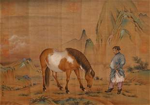 A CHINESE PAINTING OF FIGURE AND HORSE