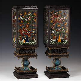 A PAIR OF CHINESE CLOISONNE PALACE LANTERNS