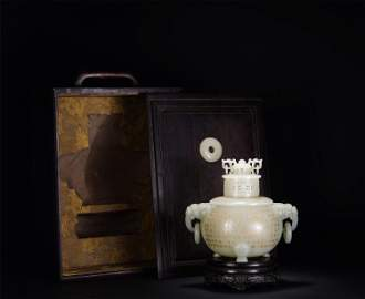 A CHINESE WHITE JADE CARVED INCENSE BURNER WITH COVER