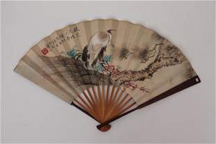 A CHINESE FOLDING FAN PAINTING OF PINE TREE AND CRANE