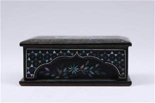 A CHINESE LACQUERWARE INLAID MOTHER OF PEARL LIDDED BOX