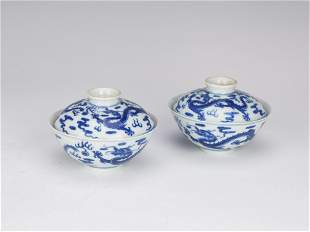 A PAIR OF CHINESE BLUE AND WHITE PORCELAIN LIDDED CUPS