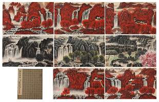 A CHINESE ALBUM OF PAINTINGS RED MOUNTAINS LANDSCAPE