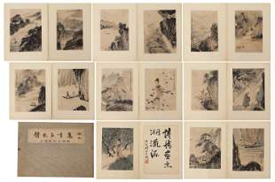 A CHINESE ALBUM OF PAINTINGS FIGURE STORY