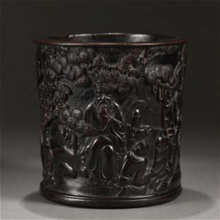 A CHINESE CARVED FIGURE STORY ZITAN BRUSH POT