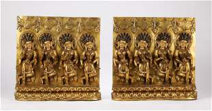A PAIR OF CHINESE GILT BRONZE BUDDHIST PLAQUE