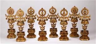 A SET OF CHINESE GILT BRONZE EIGHT TREASURES BUDDHIST