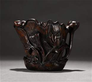 A CHINESE AGARWOOD LOTUS FLOWERS CUP