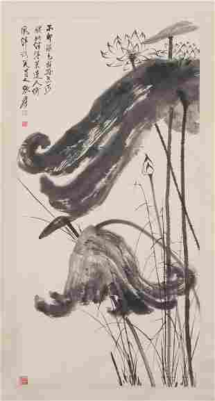 A CHINESE INK PAINTING OF LOTUS FLOWERS