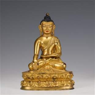 A CHINESE GILT BRONZE FIGURE OF BUDDHA STATUE