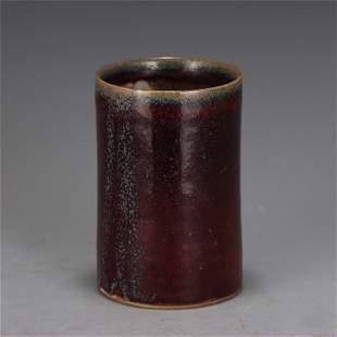 A CHINESE FLAMBE GLAZED PORCELAIN BRUSH POT